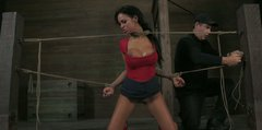 Busty hooker Angelina Valentine is tied with ropes and gives a blowjob