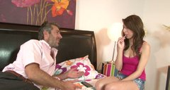 Seductive girl Lexi Bloom flirting with elder man