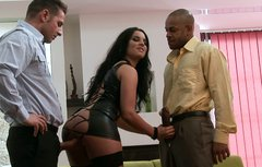 Fabulous brunette Bettina Dicapri getting black and white cocks in threesome