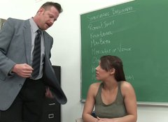 College whore Natasha Vega masturbates in front of her teacher Dick Chibbles