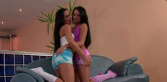 Couple of svelte lesbies Esmerelda and Suzy Black get wild on the couch