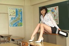 Japanese model Aki Hoshino acts like a horny teacher