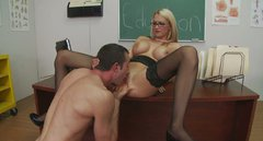 Whorish college teacher Blake Rose debauches her student and fucks him in a lecture room