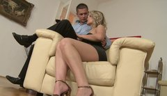 Tipsy blonde Samantha Jolie reaches for the cock in the guy's pants