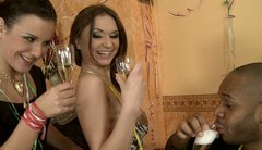 Ava drinks champagne  from her girlfriend's pussy
