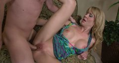 Horny blonde cougar Desiree Dalton blows dick and spreads her legs