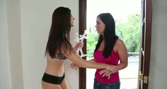 Two sluttish bitches Angell Summers and India Summer seduce the dude by sucking his cock