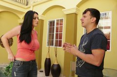 Brunette Sophie Dee iwth big boobs seduces a man near the pool