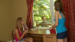 Sluttish teen gal Alena Smile gives a head to her friend's brother
