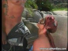 Vicious interracial sex by the pool