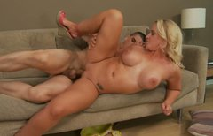 Chubby chick Dee Siren Bruce gets pounded from behind on the sofa