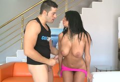 Exotic busty brunette Anissa Kate gives blowjob and gets her twat eaten.
