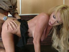 Huge natural boobs blonde milf Taylor Wane blows, rides on top and fucks doggystyle.