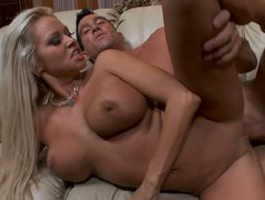 Blonde slut Nikita Von James gets a fat dick in her huge and deep hole