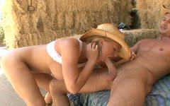 Busty blonde Krissy Lynn rides cowboy cock on the farm