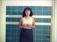Beautiful russian brunette girl peeing in the shower