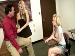 MILF shows daughter how to treat professors in college
