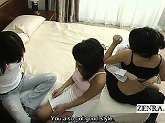 Subtitled Japanese lesbian deep kissing foreplay on bed