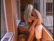 Blonde gets fucked on the balcony