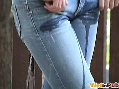 Cutie wets her pants and pee leaks out