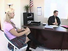 Big titted blonde pupil shows her teacher what she will do