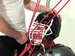 Marc Dylan gets all strapped up for some man to man action!