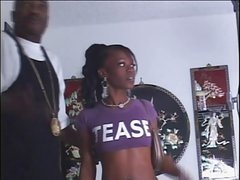 Young tight juicy ass black chick ravaged in the living room