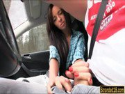 Euro teen Gina Devine jerks cock of a guy while hes driving