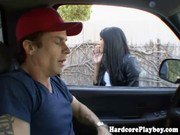 Horny asian babe spoils dude in car