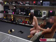 Super hot natural busty college girls flashes her tits at a pawn shop for money