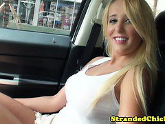 Hitch hiking blonde hottie strips in car