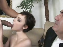 Skinny brunette and BBC, hubby cry