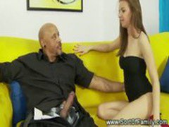 Her ebony step dad turns her on and she has too have him