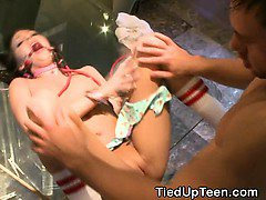 Brunette Teen Beauty Hand Cuffed And Gagged During Fuck