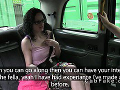 Brunette porn actress fucking in fake taxi