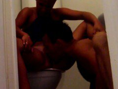 Amateur couple having fun in the bathroom