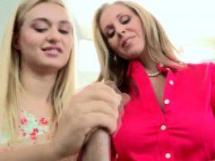 Blonde MILF Teaching Pretty Teen Girl How To Give A Handjob