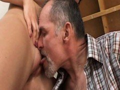 Teen gets pussy licked and fucked by an old guy
