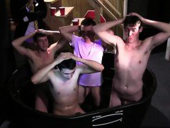 Gay orgy Pledges in saran wrap, bobbing for dildos, and jala