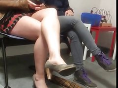 Sexy Legs Miniskirt Candid at public waiting room