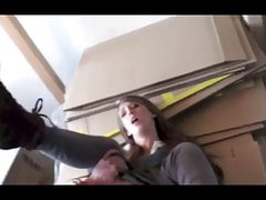 Hot young german girl fucked in the storage room