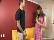 Naughty Teen Jerks Off Her Step-Brother