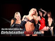 Lesbian mistress finds slave in her leather and demands she pleasure her
