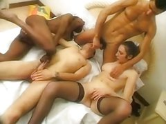 French Bisexual Inter Racial Foursome