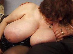BBW mature with huge saggy tits fucking