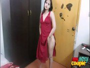 indian amateur wife sonia stripping in red nighty on sexy song