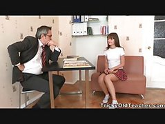 Nina\'s Teacher Plays With Her Breasts And Nina Then Kneels To Lick His Hard Cock And Pleasure Him.