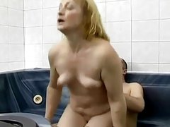 Mature with small saggy tits fucked in the Spa