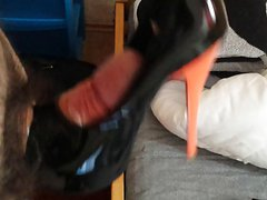 Cum on black shiny high heels