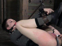 Ball gagged bdsm babe pussy pumped up